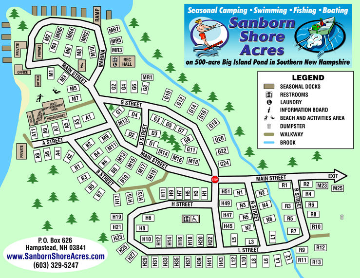 Sanborn Shore Acres site map. You may click on this map to view, download and print a high-resolution version in PDF format.